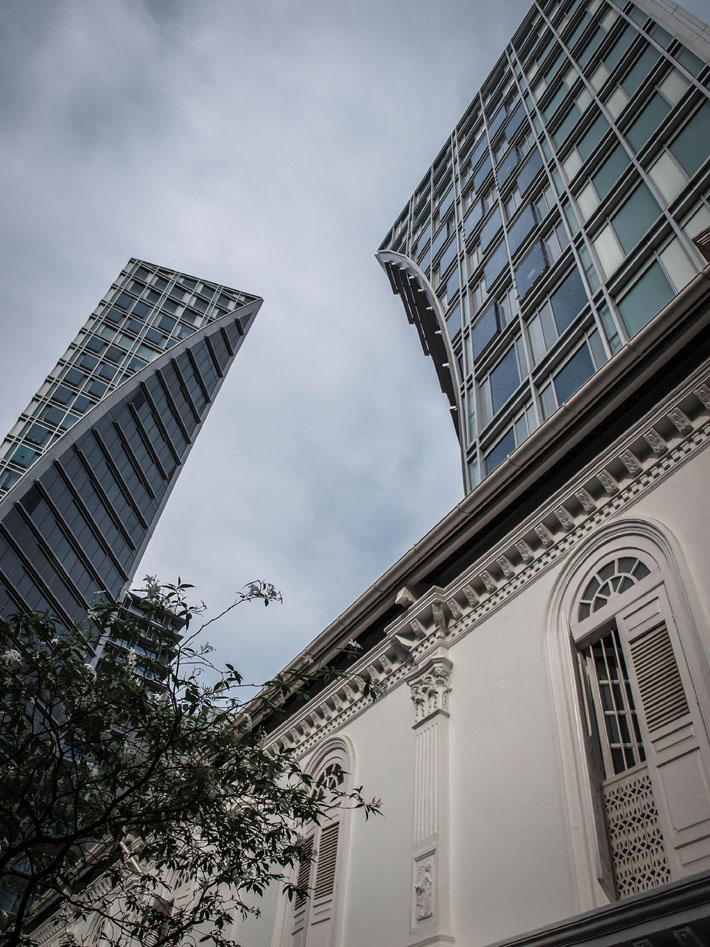 singapore cbd buildings tripod