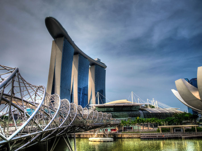 singapore marina bay sands helix bridge hdr